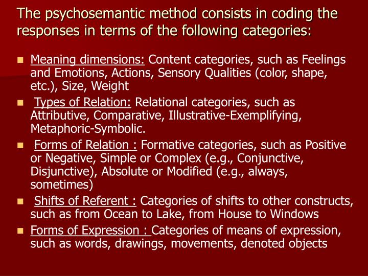 The psychosemantic method consists in coding the responses in terms of the following categories: