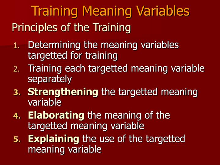 Training Meaning Variables