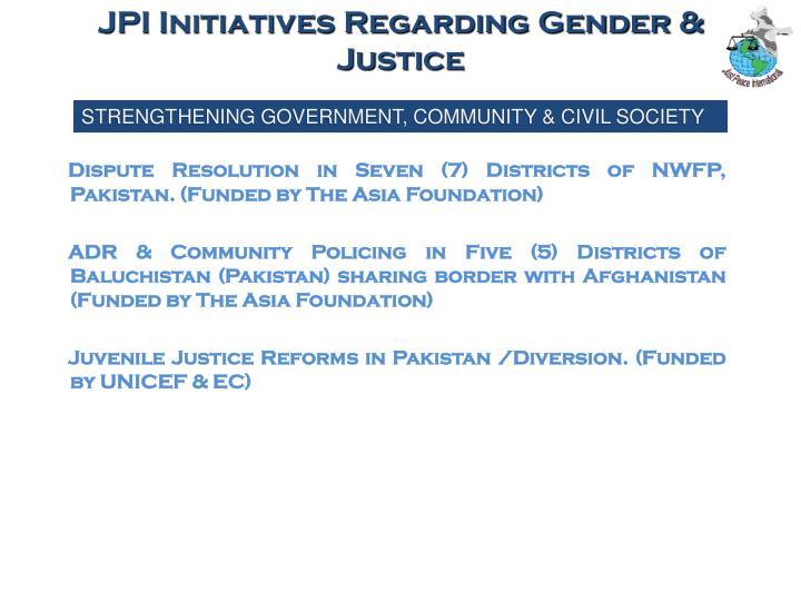 JPI Initiatives Regarding Gender & Justice