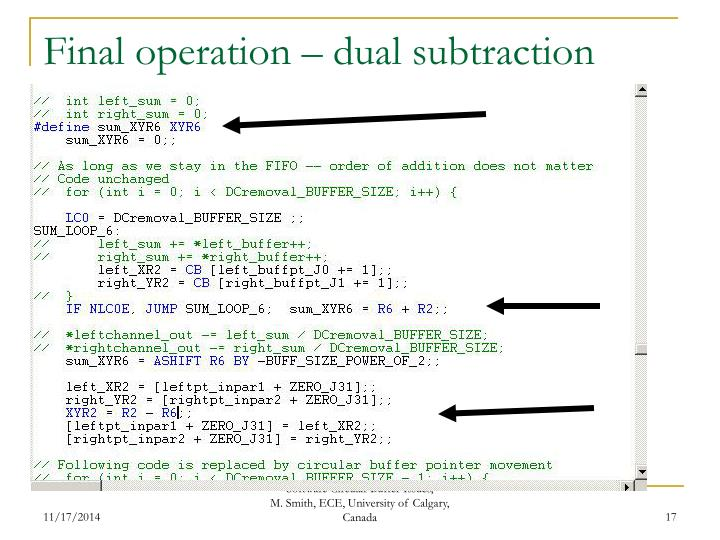 Final operation – dual subtraction