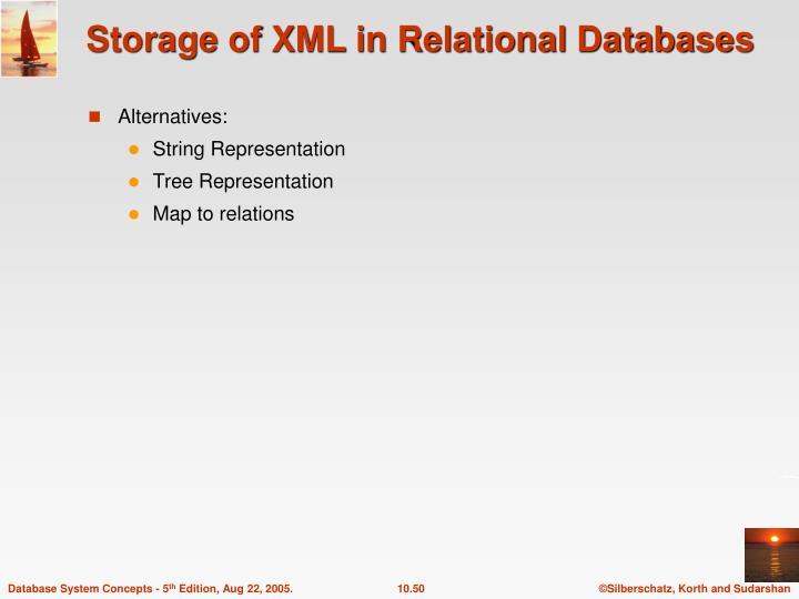 Storage of XML in Relational Databases
