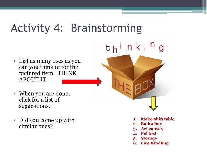 Activity 4:  Brainstorming