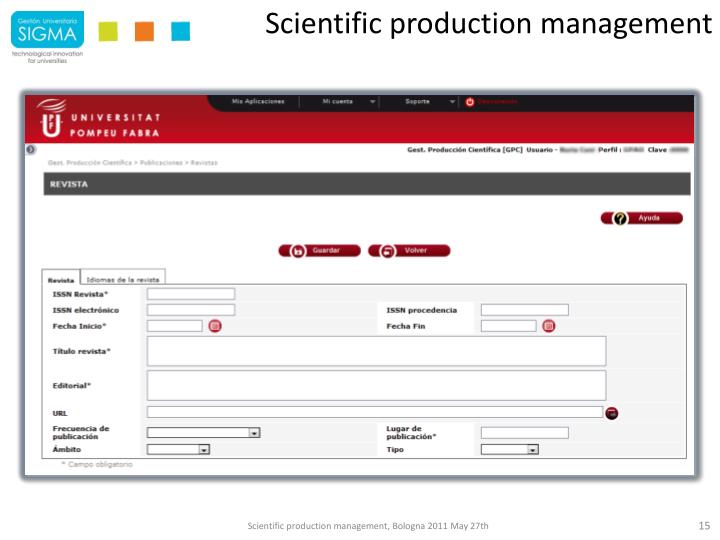 Scientific production management