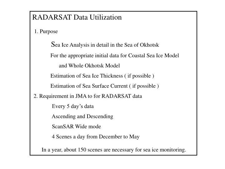 RADARSAT Data Utilization