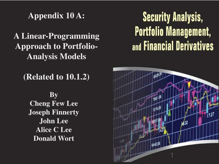 appendix 10 a a linear programming approach to portfolio analysis models related to 10 1 2