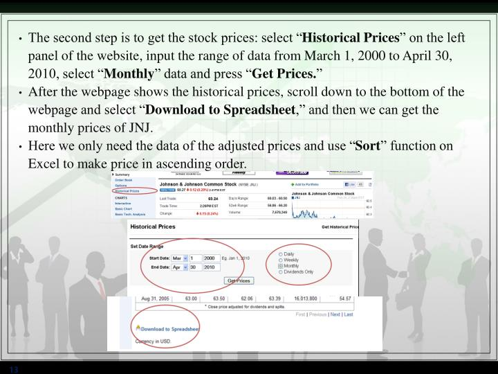 """The second step is to get the stock prices: select """""""