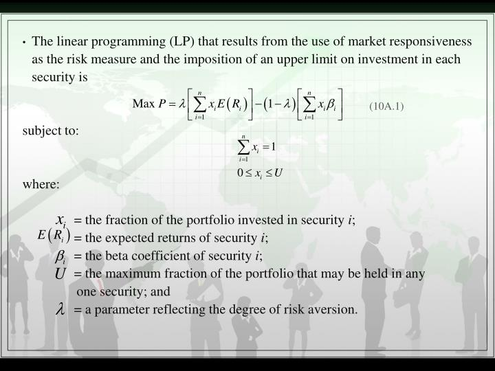 The linear programming (LP) that results from the use of market responsiveness as the risk measure and the imposition of an upper limit on investment in each security is