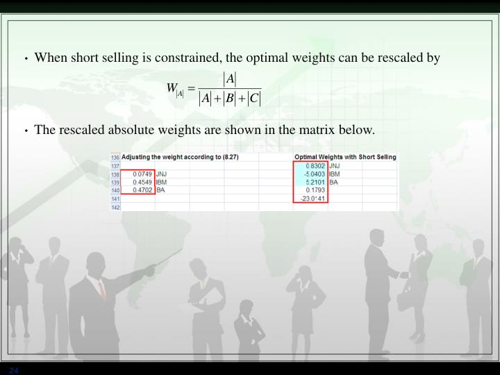 When short selling is constrained, the optimal weights can be rescaled by