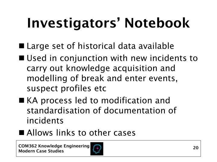 Investigators' Notebook