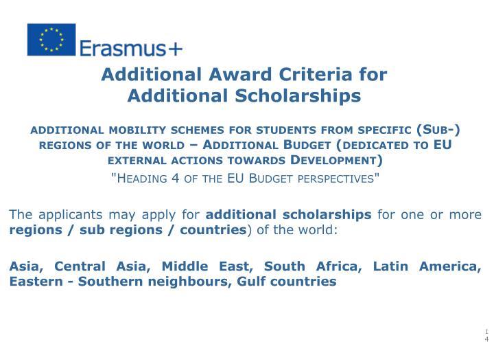 Additional Award Criteria for