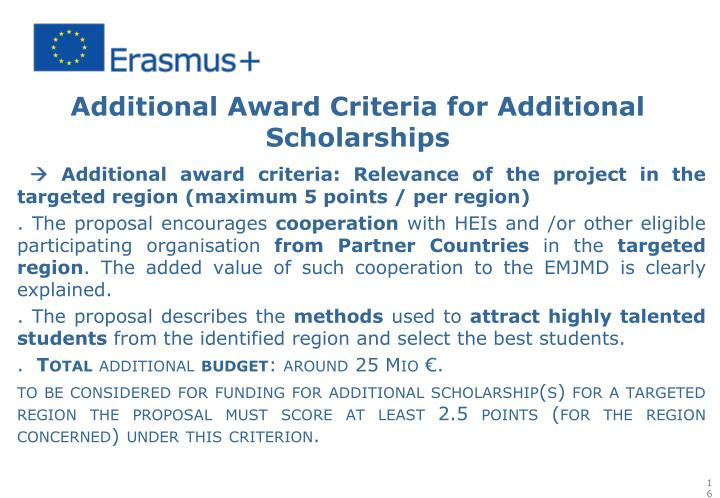Additional Award Criteria for Additional Scholarships