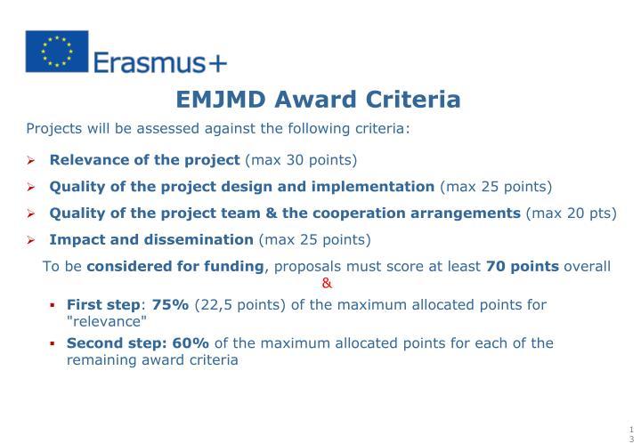 EMJMD Award Criteria
