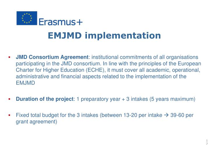 EMJMD implementation