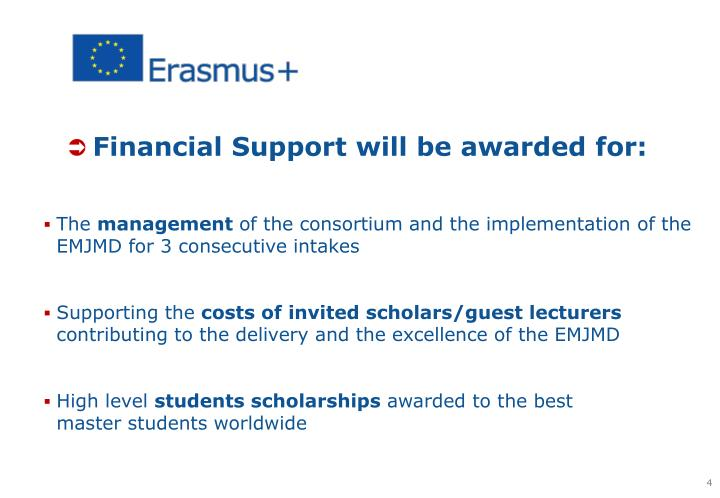 Financial Support will be awarded for: