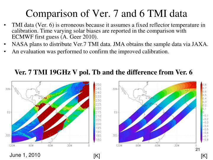 Comparison of Ver. 7 and 6 TMI data