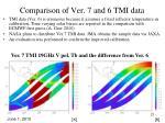 comparison of ver 7 and 6 tmi data