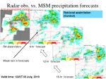 radar obs vs msm precipitation forecasts