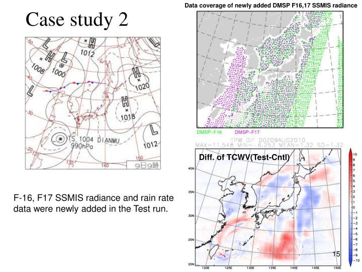 Data coverage of newly added DMSP F16,17 SSMIS radiance