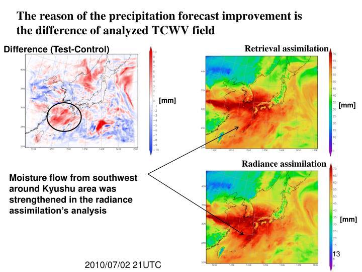 The reason of the precipitation forecast improvement is