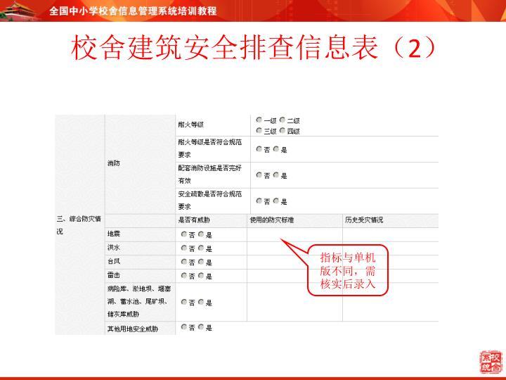校舍建筑安全排查信息表(