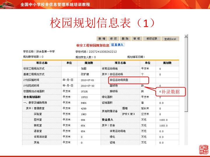 校园规划信息表(