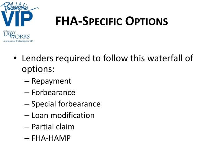 FHA-Specific Options