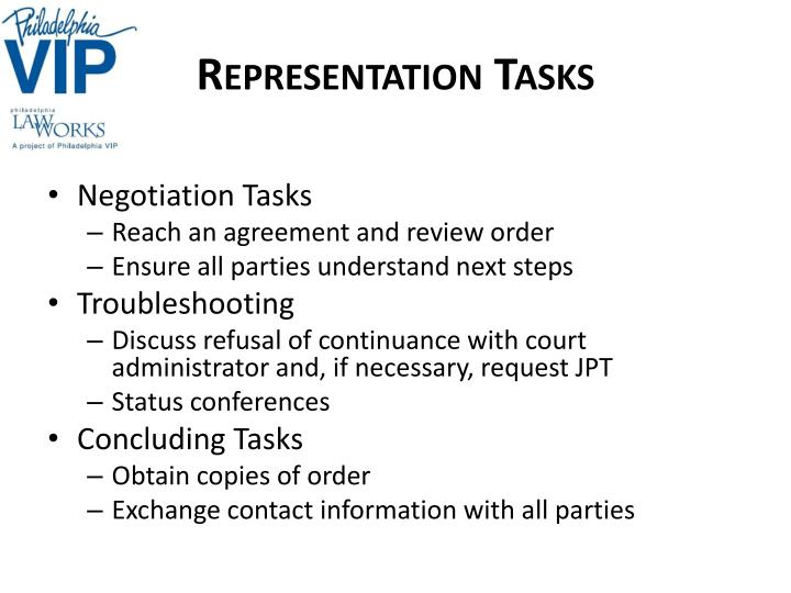 Representation Tasks