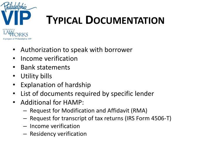 Typical Documentation