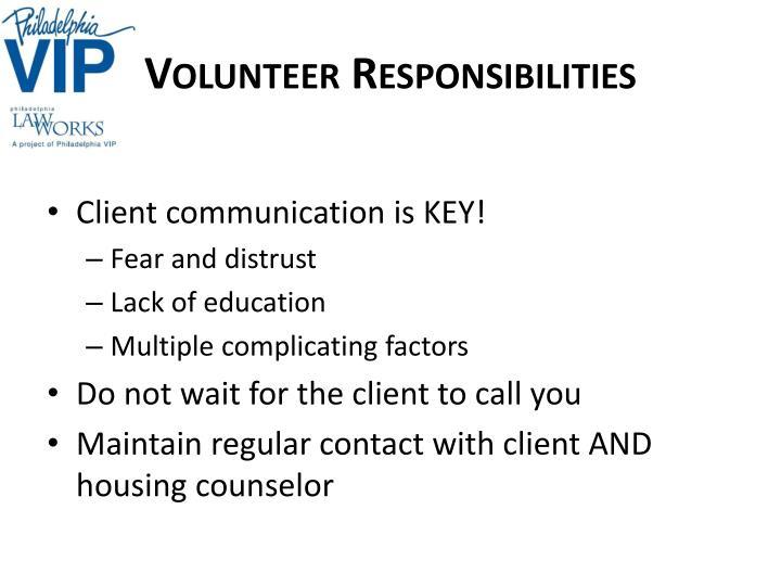 Volunteer Responsibilities