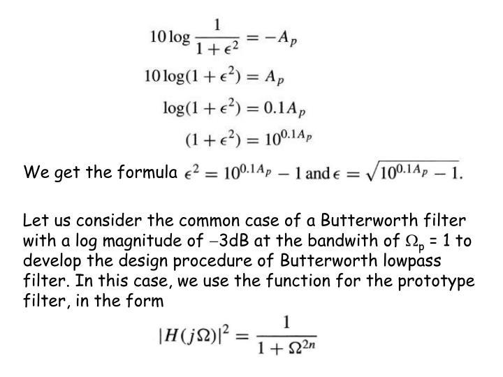 We get the formula