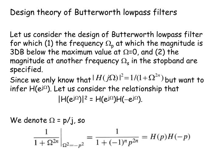 Design theory of Butterworth lowpass filters