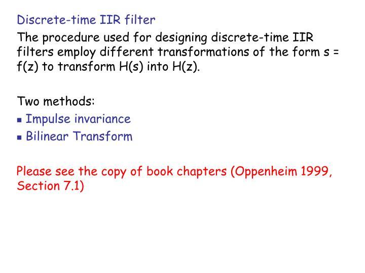 Discrete-time IIR filter