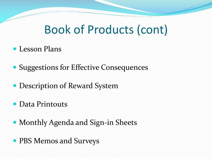 Book of Products (cont)