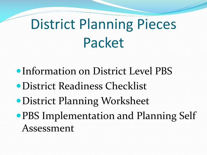 District Planning Pieces Packet