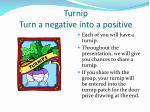 turnip turn a negative into a positive