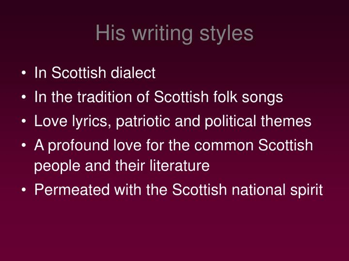 His writing styles