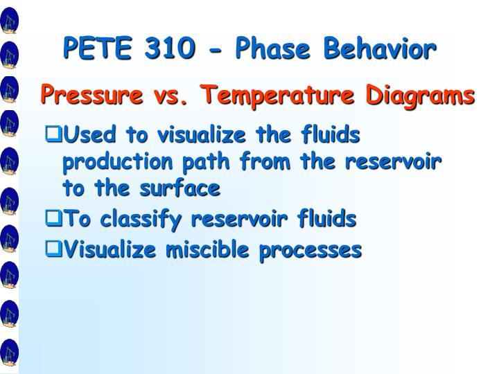PETE 310 - Phase Behavior