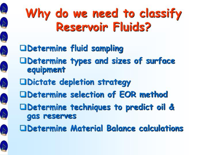 Why do we need to classify Reservoir Fluids?