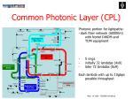 common photonic layer cpl