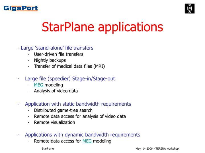 StarPlane applications