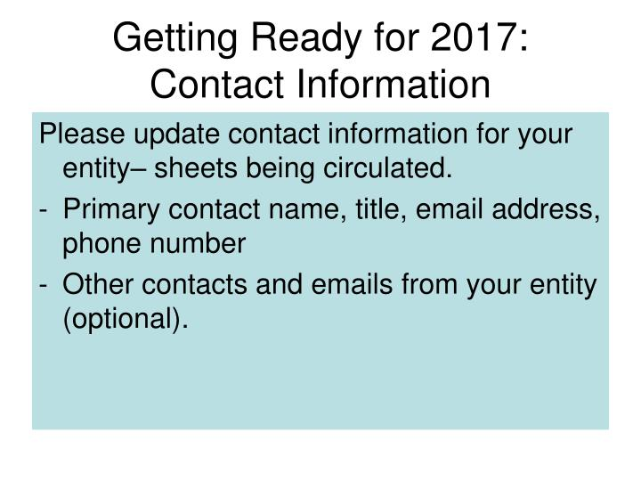 Getting Ready for 2017: