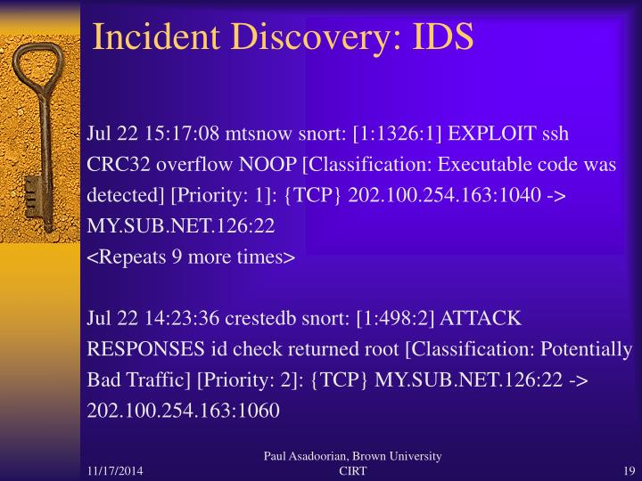 Incident Discovery: IDS