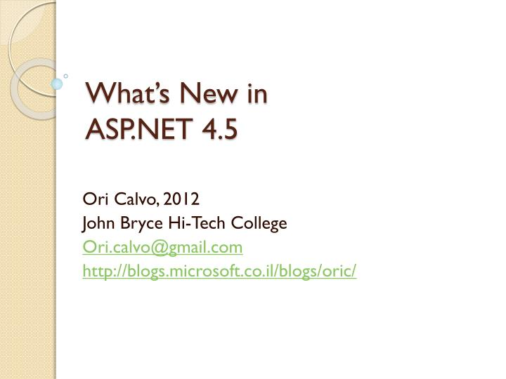 What s new in asp net 4 5