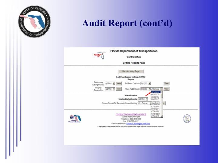 Audit Report (cont'd)