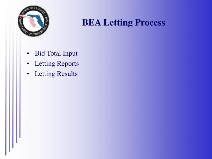 BEA Letting Process