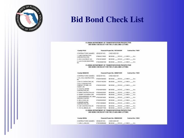 Bid Bond Check List