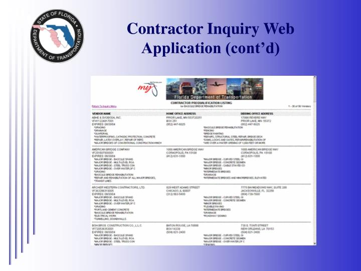 Contractor Inquiry Web Application (cont'd)