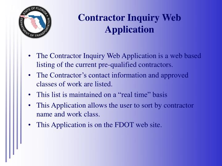 Contractor Inquiry Web Application