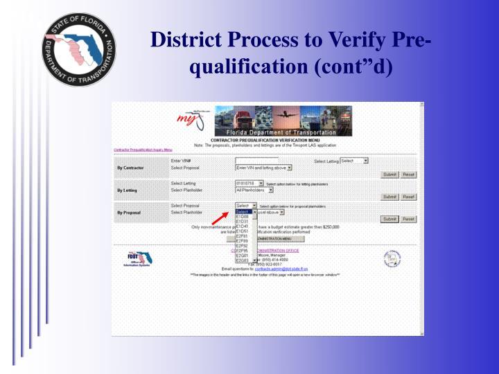 """District Process to Verify Pre-qualification (cont""""d)"""
