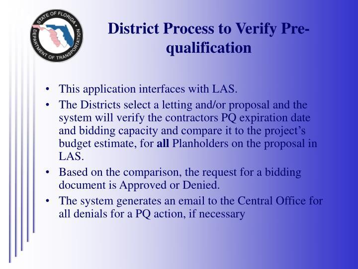 District Process to Verify Pre-qualification